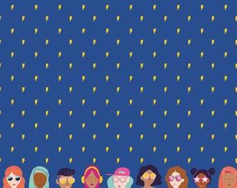 GRL PWR, Riley Blake Fabrics, Blue Girl Power Lightning, Premium Quilting Cotton Fabric by the Yard, C10652-Blue