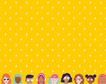 GRL PWR, Riley Blake Fabrics, Yellow Girl Power Lightning, Premium Quilting Cotton Fabric by the Yard, C10652-Yellow