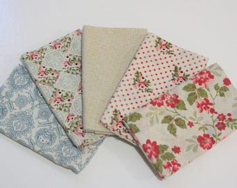 Elizabeth Rose, 5 Fat Quarters, Quilting Fabric, Elizabeth Rose by Gray Sky Studio