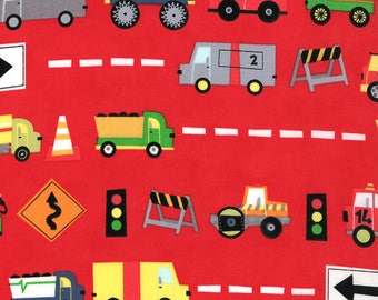 Jenn Ski Fabric, Red Trucks, Ten Little Things by Jenn Ski for Moda, 30501-11