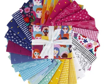 GRL PWR Fat Quarter Bundle -  24 Prints designed by Damask Love, Complete Collection from Riley Blake Designs--FQ-10650-24
