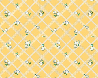 Penny Rose Fabric by the Yard, Calico Crow Plaid, by Lauren Nash for Riley Blake Designs, C7303-YELLOW