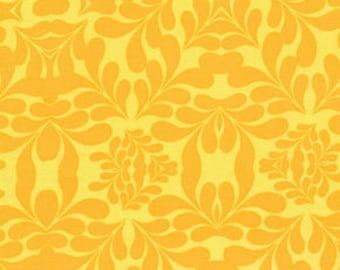 Free Spirit Fabric, Morning Tides by Mark Cesarik for Free Spirit, MC13 Diamond Leaves Damask in Yellow