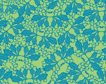 Modern Asian Fabric, Kyoto Leaves in Pistachio/Ocean, Osaka by Debra Valencia for David Textiles, DV9037