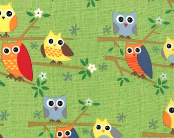 Ten Little Things Fabric by Jenn Ski for Moda Fabrics, 30502-16 Lime Owls