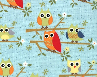 Jenn Ski Fabric, Aqua Owls Kids Novelty Fabric, Ten Little Things by Jenn Ski for Moda Fabrics, 30502-14