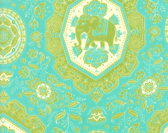 Lily Ashbury Fabric, Elephants, Trade Winds by Lily Ashbury for Moda Fabrics, 11453-13 South Pacific