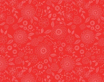 Riley Blake Fabric, Wildflower Bouquet Line Work Red, Cotton Fabric by the Yard and Fat Quarters, Quilting Fabric, C8833-RED