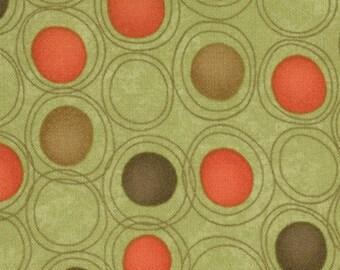 Sandy Gervais Fabric, Lollipop by Sandy Gervais for Moda Fabrics, 17555-17 Circles on Green