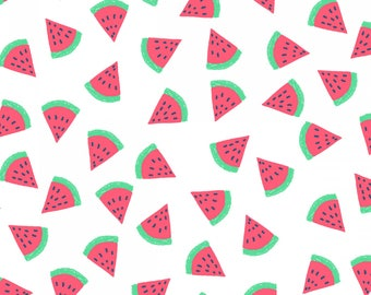 Life's A Beach, Dear Stella Fabrics, White Watermelon, Fabric by the Yard, ST-954WHT