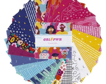 "GRL PWR 5"" Stacker, 42 piece pack of Girl Power Quilting Cotton Scraps designed by Damask Love for Riley Blake Designs--5-10650-42"