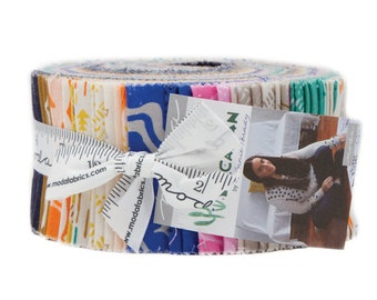 Yucatan Jelly Roll by Annie Brady for Moda Fabrics, 40 pieces 2.5 inch fabric strips--colorful bright--16710JR