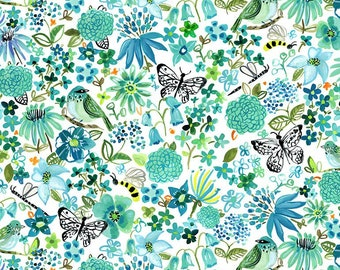 Dear Stella Fabrics, Garden Meditation, No Place Like Om Fabrics by August Wren, Quilting Cotton, STELLA-DJL1700  WHITE