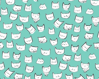 Catitude, Dear Stella Fabrics, Atlantis Cat Heads, Blue Aqua Cats, Fabric by the Yard, ST-1002ATLA