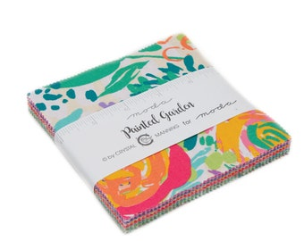 Painted Garden Charm Pack by Crystal Manning for Moda Fabrics, 42 pieces 5x5 inch fabric squares--colorful--11810PP Moda Precuts