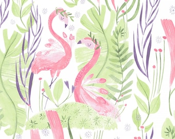 Pink Paradise, Designed by Rae Ritchie for Dear Stella Fabrics, White Pink Paradise, Fabric by the Yard, ST-SRR986WHT