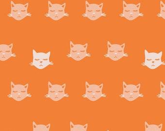 Art Gallery Fabrics, Cat Nap Orange Fabric, Oh, Meow!--Quilters Cotton OEKO-TEX Standard 100 Certified--OHM-33441