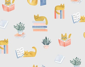 Dear Stella Fabrics, Cat Library, Creative Cats Cotton Fabric by the Yard and Fat Quarters, Quilting Fabric, STELLA-DCJ1687-MULTI