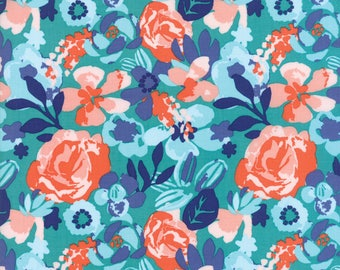 Kate Spain Voyage Fabric by the Yard, Kew in Turquoise Blue, Moda Fabrics, 27281-11