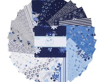 "Blue Stitch 5"" Stacker, 42 piece pack of Quilting Cotton Scraps designed by Christopher Thompson for Riley Blake Designs--5-10060-42"