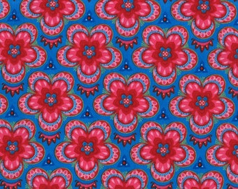 Lily Ashbury Fabric, Trade Winds by Lily Ashbury for Moda Fabrics, 11456-12 Macaw Blue