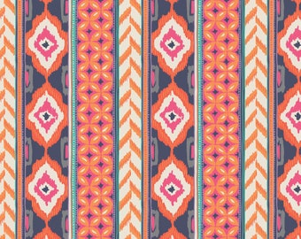Amira, Camelot Fabrics, Designed by Elizabeth Silver, Column in Orange Soda, Fabric by the Yard, SKU: 27170102 #1