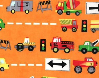 Jenn Ski Fabric, Orange Trucks, Ten Little Things by Jenn Ski for Moda, 30501-12