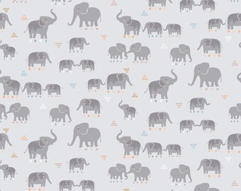 Dear Stella Fabric, Elephants, Call of the Wild Cotton Fabric by the Yard and Fat Quarters, Quilting Fabric, ST-1663-MOONBEAM
