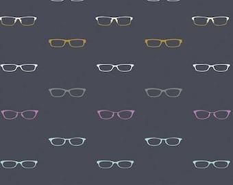 Art Gallery Fabrics, Readers Glasses in Dark Blue, Hooked by Mister Domestic--Quilters Cotton OEKO-TEX Standard 100 Certified--HKD-22652