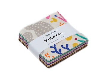 Moda Mini Charm Pack, Yucatan by Annie Brady for Moda Fabrics, Fabric Scraps, 16710MC
