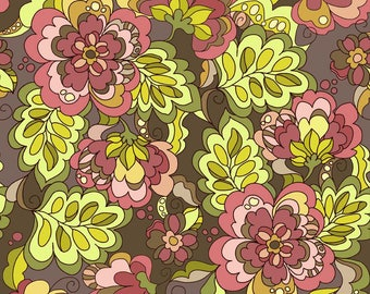 Lila Tueller Fabric, Fiona's Fancy by Lila Tueller for Riley Blake Fabrics, C2670 Brown Fiona Main Floral