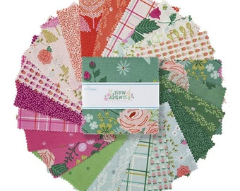 "New Dawn 5"" Stacker, 42 piece pack of Designer Quilting Cotton Scraps by Citrus & Mint Designs for Riley Blake Designs--5-9850-42"