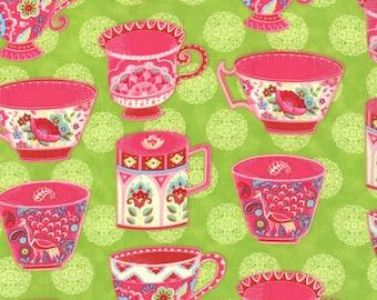 Tea Cups Novelty Fabric, Trade Winds by Lily Ashbury for Moda Fabrics, 11452-15 Malabar Green