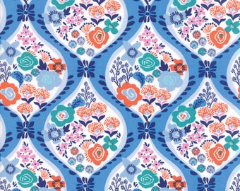 Kate Spain Voyage Fabric by the Yard, Meuse in Delft Blue, Moda Fabrics, 27280-23
