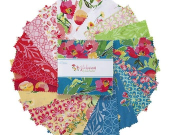 """Glohaven 5"""" Stacker, 42 piece pack of Designer Quilting Cotton Scraps by Lila Tueller for Riley Blake Designs--5-9830-42"""