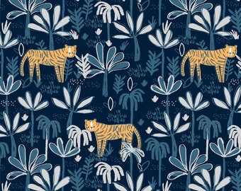 Hakuna Matata, Dear Stella Fabric by the Yard, Midnight Tiger Land, ST-970MIDN