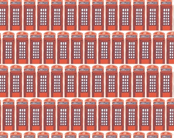 From London with Love Fabric by the Yard, Phone Booth in Red, by Vicky Yorke for Camelot Fabrics, 30170108