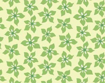 In the Beginning Fabric by the Yard, Breeze by Wendy Slotboom for In the Beginning Fabrics, 8WSB-4 Green Flowers