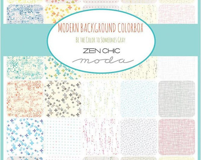 Featured listing image: Layer Cake, Modern Background Colorbox, by Zen Chic for Moda Fabrics, 42 pieces 10x10 inch squares--Low Volume Prints--1640LC
