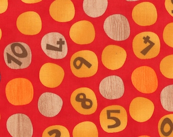 Ten Little Things Fabric by Jenn Ski for Moda Fabrics, 30503-11 Numbers on Dots in Red