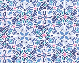 Kate Spain Voyage Fabric by the Yard, Kerala in Cloud Blue, Moda Fabrics, 27283-25