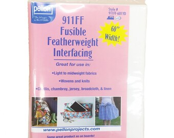 Fusible Featherweight Interfacing by Pellon--60in x 1yd --Non-woven interfacing for light to mid-weight woven and knit fabrics--911FF-601YD