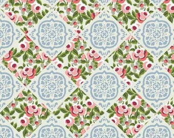 Rose Tiles Fabric, Elizabeth Rose, by Gray Sky Studio for In The Beginning Fabrics, 4GS-3