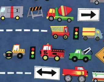 Jenn Ski Fabric, Navy Trucks, Ten Little Things by Jenn Ski for Moda, 30501-20