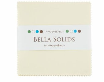 SNOW Charm Pack Bella Solids Moda Basics 42 pieces 5x5 inch fabric squares--cream neutral white--9900PP 11
