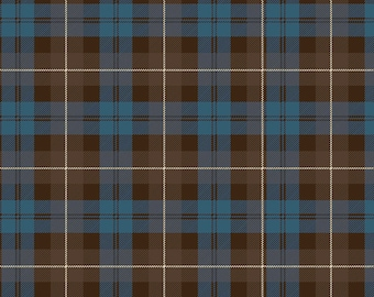 Riley Blake Fabrics, Tartan Brown Blue, All About Plaids, Premium Quilting Cotton Fabric by the Yard, C638-BROWN