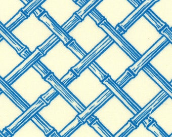 Lily Ashbury Fabric, Trade Winds by Lily Ashbury for Moda Fabrics, 11458-12 Vanilla Macaw Blue