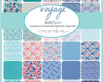 Half Yard Bundle-Kate Spain Voyage COMPLETE COLLECTION, 38 Half Yards, Designer Quilting Fabric