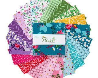 "Fleur 5"" Stacker, 42 piece pack of Designer Quilting Cotton Scraps by Sedef Imer for Riley Blake Designs--5-9870-42"