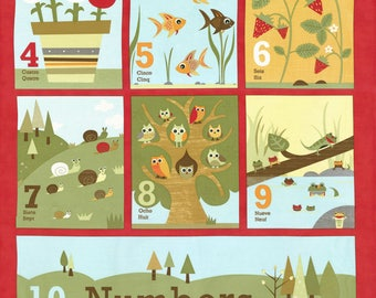 Craft Project, Baby Book, Jenn Ski Fabric, Red Numbers Panel, Ten Little Things by Jenn Ski for Moda Fabrics, 30500-11